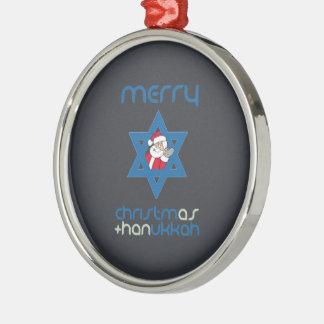 SANTA CHRISMUKKAH -.png Round Metal Christmas Ornament