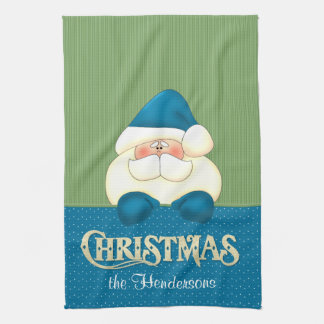 Santa Christmas Blue and Green Cook's Towel