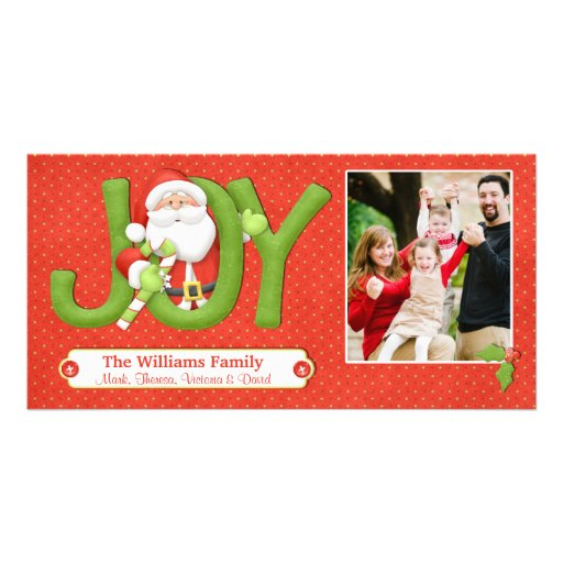 Santa Christmas Card with Photo Photo Greeting Card