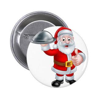 Santa Christmas Cartoon Holding Food Platter Button