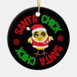 Santa Christmas Chick Double-Sided Ceramic Round Christmas Ornament