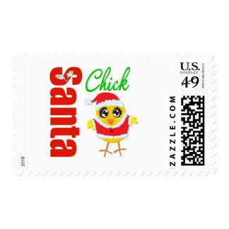 Santa Christmas Chick Postage Stamps