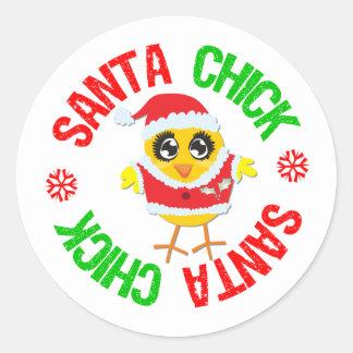 Santa Christmas Chick v2 Classic Round Sticker