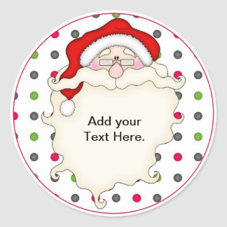 Santa Christmas Cupcake Toppers Stickers