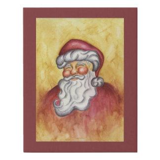 Santa Christmas Faux Canvas Print Holiday Decor