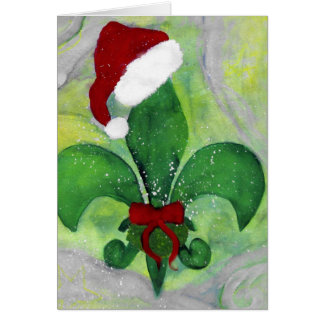 Santa Christmas Fleur de lis Holiday Card