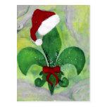 Santa Christmas Fleur de lis Holiday Card Postcard