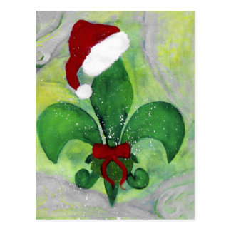 Santa Christmas Fleur de lis Holiday Card Post Cards