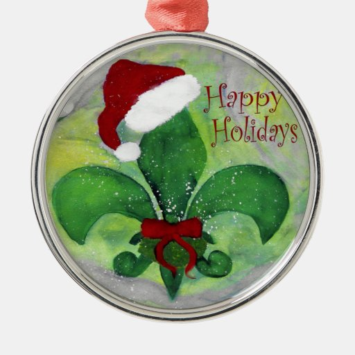 Santa christmas fleur de lis ornament zazzle