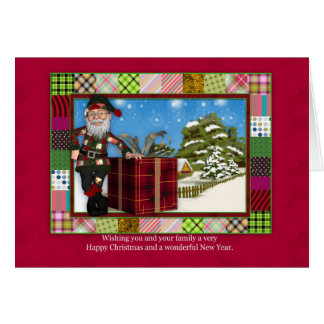 Santa Christmas Greeting Card With Scenery