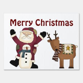 Santa Christmas Greeting Yard Sign