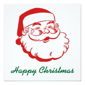 """Santa Christmas Holiday Card 5.25"""" Square Invitation Card"""