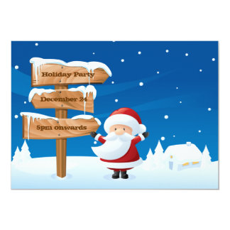 Santa Christmas Holiday Party Invitation Card