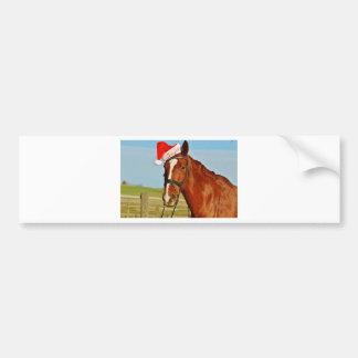Santa Christmas Horse Bumper Sticker