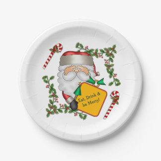 Santa Christmas Message Paper Plate