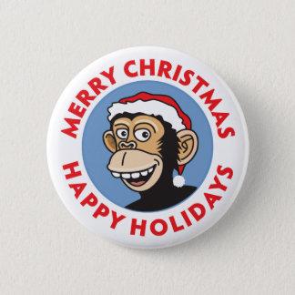 Santa Christmas Monkey Button