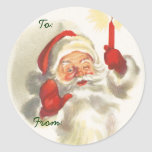 Santa Christmas Name Tags Classic Round Sticker