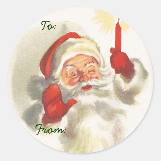 Santa Christmas Name Tags Round Stickers