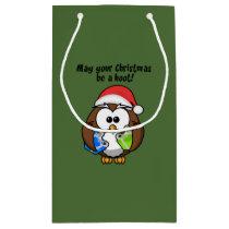 Santa Christmas Owl Small Gift Bag