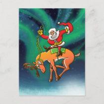 Santa Christmas Rodeo Holiday Postcard
