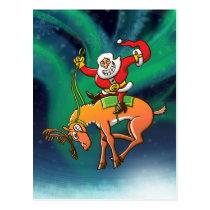 Santa Christmas Rodeo Postcard