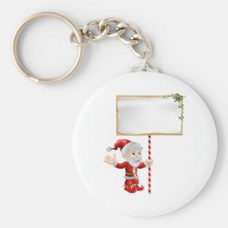 Santa Christmas Sign Illustration Key Chain