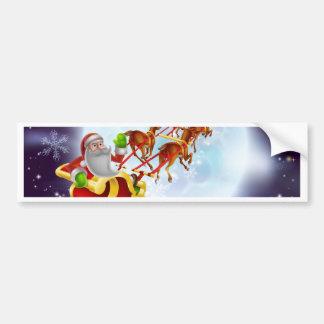 Santa Christmas Sleigh Moon Bumper Stickers