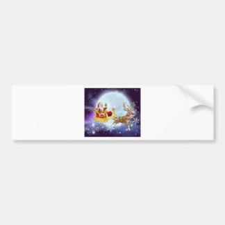 Santa Christmas Sleigh Moon Bumper Sticker