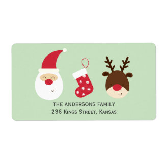 Santa, Christmas stocking and reindeer Label