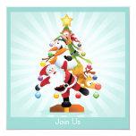 """Santa Christmas Tree Holiday Party Invitation 5.25"""" Square Invitation Card"""