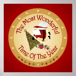Santa Christmas Tree Poster