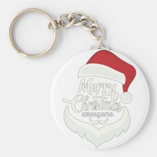 Santa Christmas White Minimalist Design Cute Gift Keychain