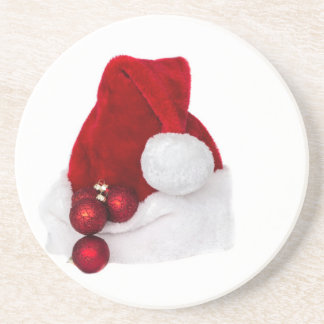 Santa Christmas Winter Hat Stocking Red Drink Coaster