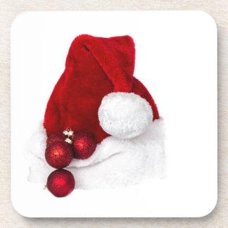 Santa Christmas Winter Hat Stocking Red Beverage Coaster