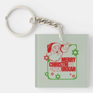 SANTA CHRISTMUKKAH RED GREEN -.png Double-Sided Square Acrylic Keychain