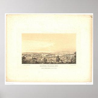 Santa Clara, CA. Panoramic Map 1856 (1585A) Poster