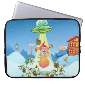 Santa Claus Abducted by a UFO just before Xmas Laptop Sleeve