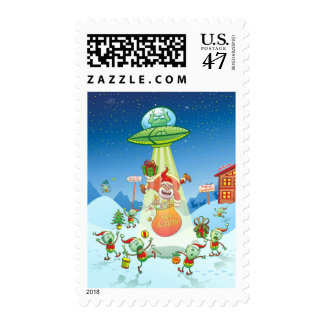 Santa Claus Abducted by a UFO just before Xmas Postage