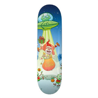 Santa Claus Abducted by a UFO just before Xmas Skateboard Deck
