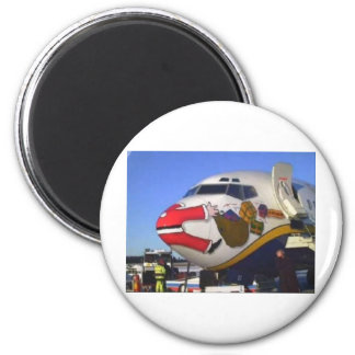 SANTA CLAUS AIRLINER MID-AIR 2 INCH ROUND MAGNET
