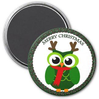 Santa Claus all green Christmas owl Magnet