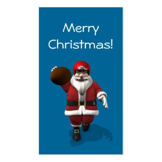 Santa Claus American Football Player Double-Sided Standard Business Cards (Pack Of 100)