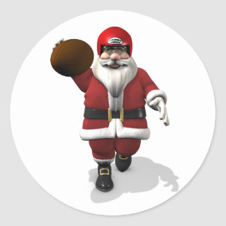 Santa Claus American Football Player Classic Round Sticker