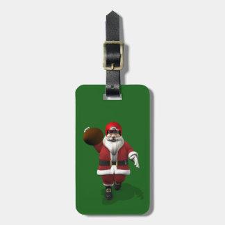Santa Claus American Football Player Luggage Tag