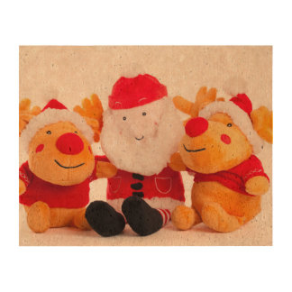 Santa Claus and 2 reindeer toys Cork Paper