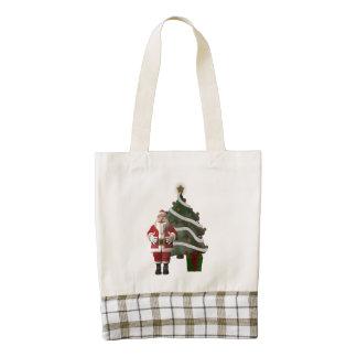 Santa Claus and a Christmas tree Zazzle HEART Tote Bag