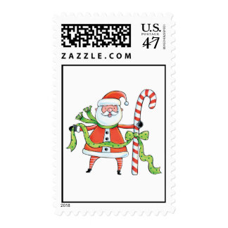 Santa Claus and Candy Cane Postage
