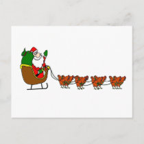 Santa Claus and chicken Reindeer Holiday Postcard