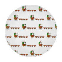 Santa Claus And Chickens Cutting Board
