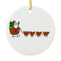 Santa Claus And Chickens Ornament
